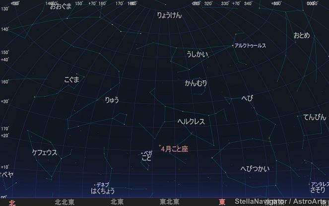 2021年4月こと座流星群ピークの頃の夜空